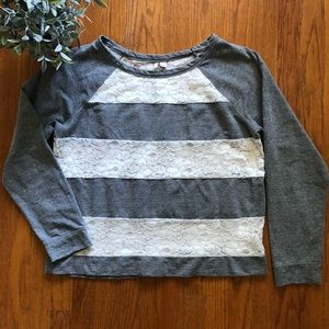 LC Lauren Conrad Gray/Lace Stripe Sweatshirt XL